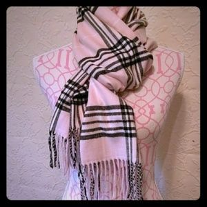 Cashmere feel Scarf pink black white NEW
